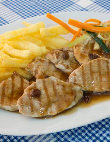 Medallones de solomillo de cerdo con salsa vino malaga